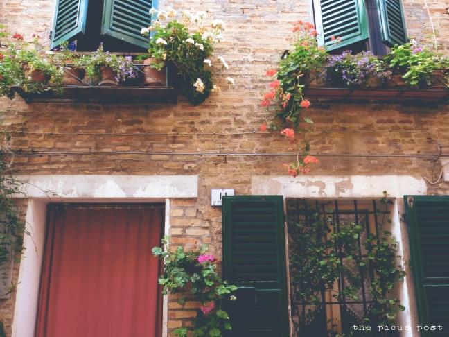 spring in italian village le marche appignano grannies